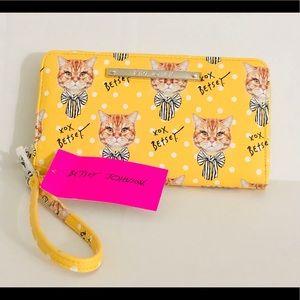 betsey johnson yellow cat wallet wristlet purse